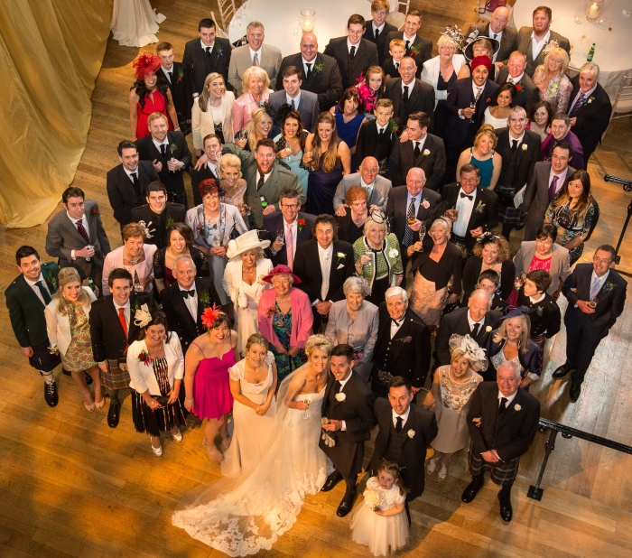 Elegant white spring wedding Edinburgh, group photo - photo credit ABM Photography