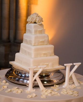 Elegant white spring wedding Edinburgh, wedding cake - photo credit ABM Photography