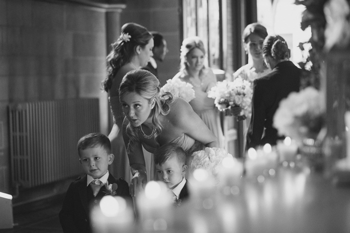 Getting ready to walk down the aisle - image by Julie Tinton Photography