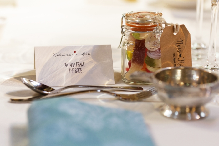 Amazing name cards and delicious wedding favours - photo credit Blue Sky Photography