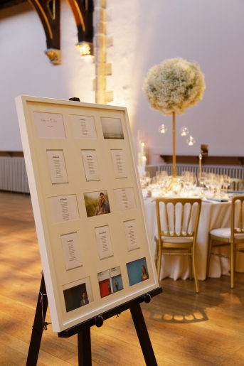 Table plan with couple's engagement shoot photos- photo credit Blue Sky Photography