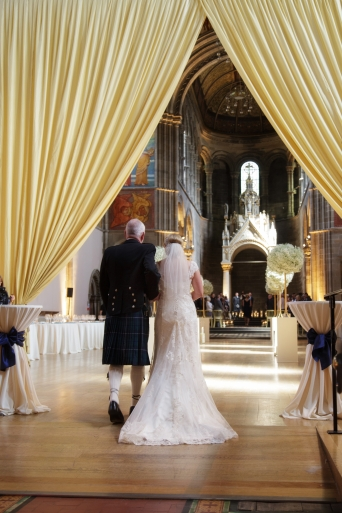 Walk down the beautifully long aisle, father giving daughter away |Photo credit Blue Sky Photography