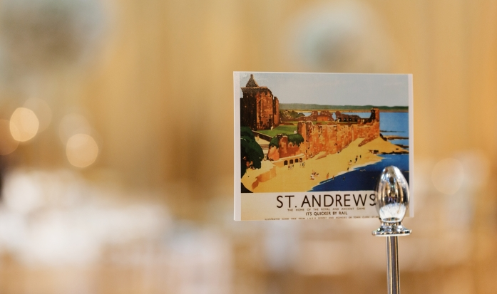 Wedding table names ideas- postcards from Scottish towns | Photo credit Blue Sky Photography