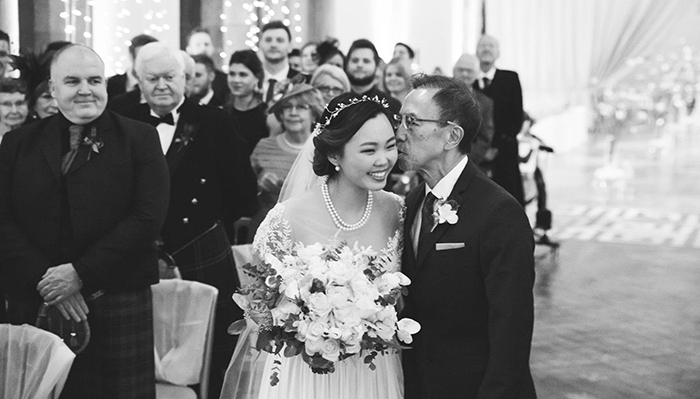 Father giving daughter away - wedding at Mansfield Traquair in Edinburgh. Photo credit: Kirsty Stroma Photography