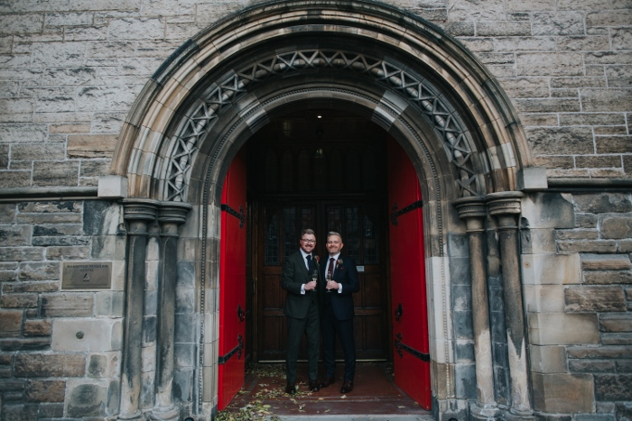 The happy newly wedded couple outside Mansfield Tranquair, Edinburgh
